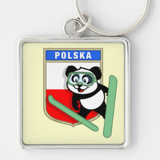 Poland Ski-jumping Panda Silver-Colored Square Key Ring