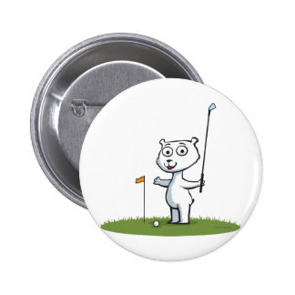 Polar Bear Golf 6 Cm Round Badge