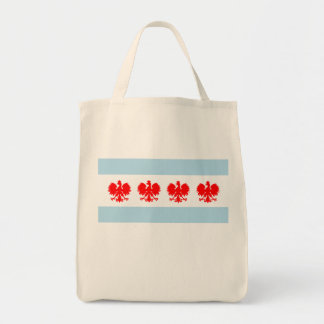Polish Chicago Flag Grocery Tote Bag