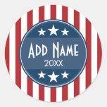 Political Campaign - Patriotic Stars and Stripes Round Sticker