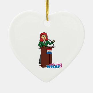 Politician - Light/Red Ceramic Heart Decoration