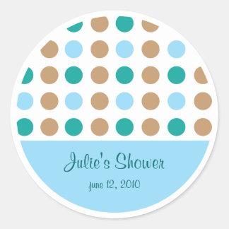 Polka Dots Blue Favor Bag Label Sticker