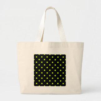 Polka Dots - Fluorescent Yellow on Black Jumbo Tote Bag