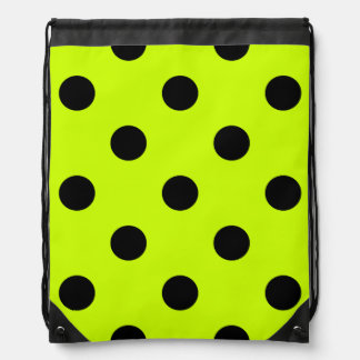 Polka Dots Huge - Black on Fluorescent Yellow Drawstring Backpacks