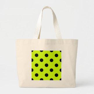 Polka Dots Huge - Black on Fluorescent Yellow Jumbo Tote Bag