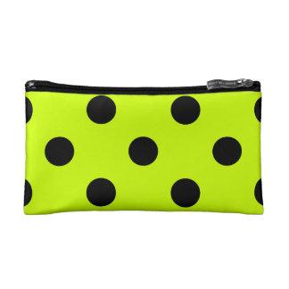 Polka Dots Huge - Black on Fluorescent Yellow Makeup Bags