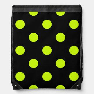 Polka Dots Huge - Fluorescent Yellow on Black Backpacks