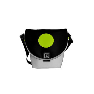 Polka Dots Huge - Fluorescent Yellow on Black Commuter Bag