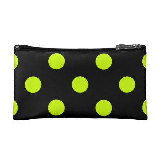 Polka Dots Huge - Fluorescent Yellow on Black Cosmetic Bags