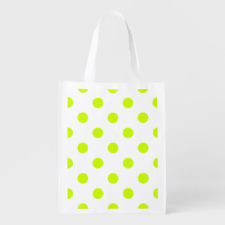 Polka Dots Huge - Fluorescent Yellow on White