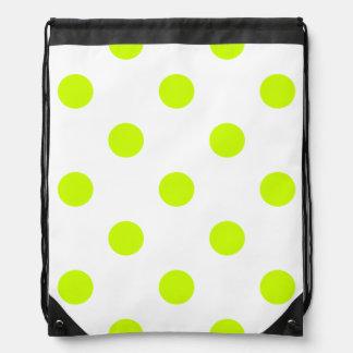 Polka Dots Huge - Fluorescent Yellow on White Backpacks