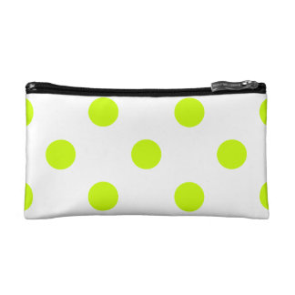 Polka Dots Huge - Fluorescent Yellow on White Makeup Bag