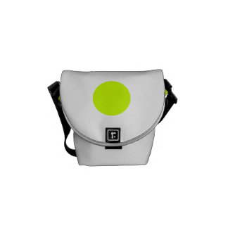 Polka Dots Huge - Fluorescent Yellow on White Messenger Bags
