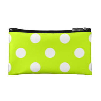 Polka Dots Huge - White on Fluorescent Yellow Makeup Bag