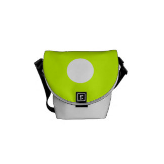 Polka Dots Huge - White on Fluorescent Yellow Messenger Bags