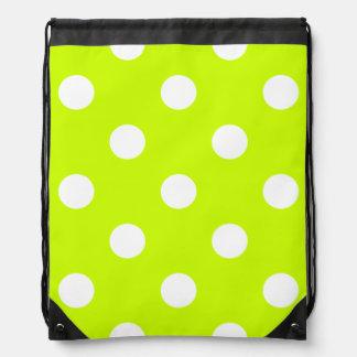 Polka Dots Huge - White on Fluorescent Yellow Rucksacks