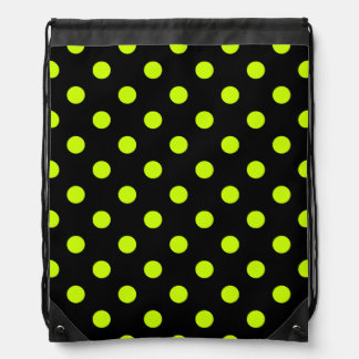 Polka Dots Large - Fluorescent Yellow on Black Backpack