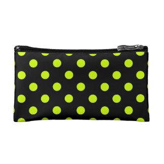 Polka Dots Large - Fluorescent Yellow on Black Makeup Bag