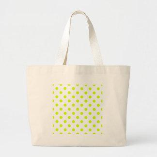 Polka Dots Large - Fluorescent Yellow on White Jumbo Tote Bag