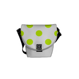 Polka Dots Large - Fluorescent Yellow on White Messenger Bags