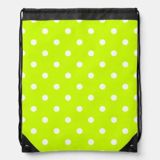 Polka Dots - White on Fluorescent Yellow Drawstring Backpacks