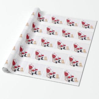 Pomeranian and Santa Dog Art Wrapping Paper