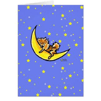Pomeranian Moon Greeting Card