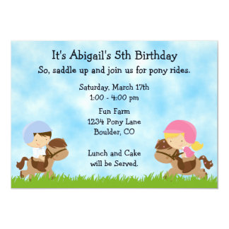 Pony Party Birthday Invitations for Girls and Boys