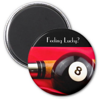 Pool Ball and cue 6 Cm Round Magnet