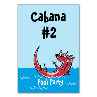 Pool Party Otters Custom Number Table Cards