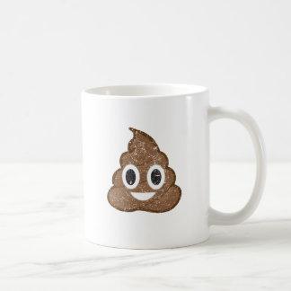 Poop emoji vintage basic white mug
