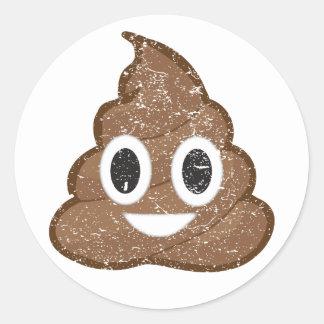 Poop emoji vintage round sticker