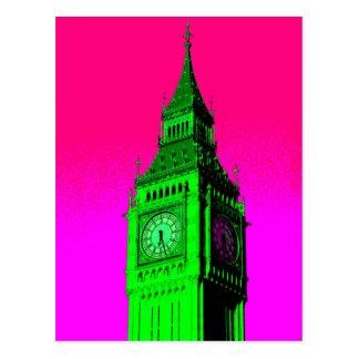 Pop Art Big Ben London Travel Pink Green Postcard