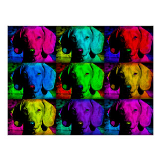 Pop Art Dachshund Doxie Sweet Face Soulful Eyes Poster