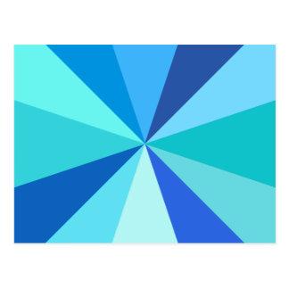 Pop Art Modern 60s Funky Geometric Rays in Blue Postcard