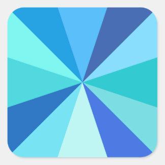Pop Art Modern 60s Funky Geometric Rays in Blue Square Sticker