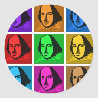 Pop Art Shakespeare Round Sticker