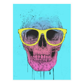 Pop art skull with glasses postcard