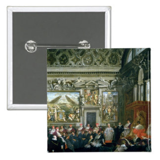 Pope Paul V  with an Audience, 1620 15 Cm Square Badge