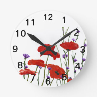 Poppies and Bachelor Buttons Wallclocks