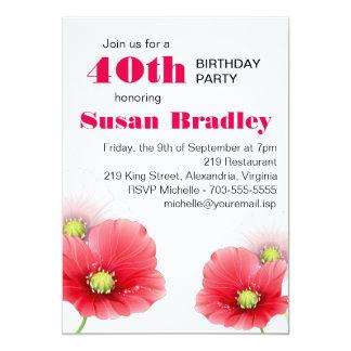 Poppies Floral Custom Birthday Party 13 Cm X 18 Cm Invitation Card