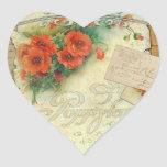 Poppies Memories and French Script Heart Sticker