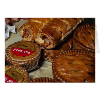 Pork pies and sausage rolls greeting card