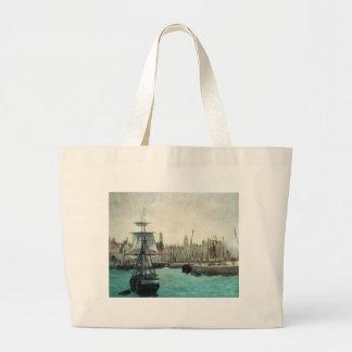 Port at Calais by Manet, Vintage Impressionism Art Jumbo Tote Bag