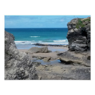 Porth Beach Newquay Cornwall Photograph Poster