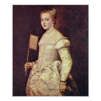Portrait of a Lady in White by Tiziano Vecelli Poster