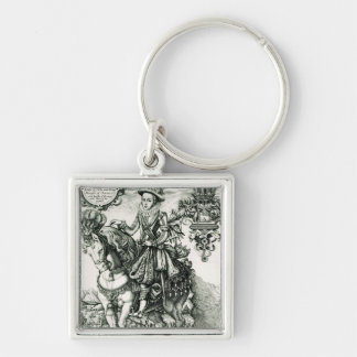 Portrait of Charles I as a Prince Silver-Colored Square Key Ring