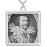 Portrait of George Villiers Square Pendant Necklace