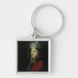 Portrait of Giuseppe Marchi  1753 Silver-Colored Square Key Ring