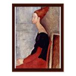 Portrait Of Jeanne Hébuterne In Dark Clothes Postcard